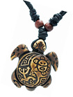 Turtle Necklace Yin Yang Coqui Taino Sun with Cotton Cord