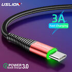 LED Type-C Micro USB Charger Cable Fast Charging For Samsung A50 Huawei Mate 30