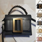 Real Leather Oversize Buckle Belt Chain Handle Shoulder Bag Crossbody Purse Gift