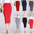 Office Lady Pencil Skirt Knitted Elastic High Waist Solid Slim Knee Length Skirt