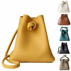 Small Mini Real Leather Oversize Knotted Bucket Bag Shoulder Bag Crossbody Purse