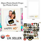 Happy Birthday Photo Booth Props Frame 18/21/30/40/50/60th Party Decor Balloons