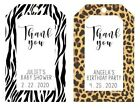 Wild Favor tags- leopard or zebra print, baby shower or birthday party Thank you