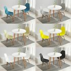 3 Pcs  Round Dining Table and 2 Plastic Chairs Set Wood Legs Lounge Cafe-White