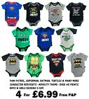 BABIES 4 PACK BODYSUITS CHARACTER BOYS GIRLS EX STORE NOVELTY ROMPERS VESTS NEW