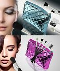 Make Up Bag with 5 Brushes Set, Ladies Travel Case, Metallic Pink or Blue
