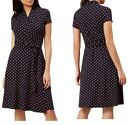 Womens HOBBS Wrap Dress Spot NAVY Belted Party Office Midi Tea Day Retro Size