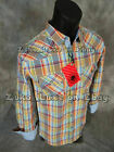 Mens PLATINI Western Style Button Shirt Multi Colors Plaid w Pockets