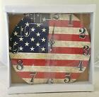 NIB American Flag Wall Clock Battery Operated Red White Blue