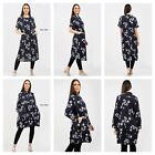 UK Women Cotton Long Sleeve Floral Print Tunic Flare Casual Midi Shirt Dress Top
