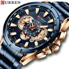 CURREN Wrist Watch Men Waterproof Chronograph Military Army Stainless Steel Male image