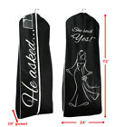 HE ASKED SHE SAID YES Garment Bag - Large Black Bride Wedding Gown Storage Cover