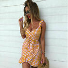 ✅Women Sleeveless Plaid Check Irregular Dress Ladies Summer Beach Party Sundress