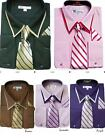 Men's Classic French Cuff Dress Shirt With Tie and Handkerchief Double Collar