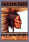 Canada Banff Indian Days Canadian Pacific Railroad Vintage Poster Print Art