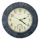 13'' Outdoor Waterproof Silent Quartz Wall Clock Thermometer Home Office Decors