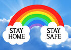 STAY HOME STAY SAFE Poster Print - Awareness Rainbow - Support NHS <br/> FREE SHIPPING - BUY 2 GET 1 FREE !