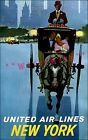 New York City 1960 Horse Drawn Hansom Cab United Air Vintage Poster Print Travel