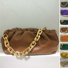 2020 Chunky Big Metal Chain Real Leather Ruched Clutch Pouch Shoulder Bag Purse
