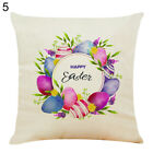 EY_ FJ- 45x45cm Happy Easter Linen Throw Waist Pillow Case Cushion Cover Sofa Be