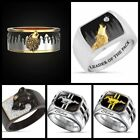 Luxury Wild Horse Mustang 925 Silver Mens Ring Jewelry Punk Band Bikers Rings image