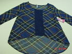 NWT Junior Womens Blue Plaid Sheer Lace Blouse Top Pullover Sexy Summer top