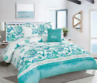 King or Full/Queen 5-pc Oversized Coastal Seashell Comforter Bedding Set, Teal image