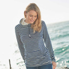 Weird Fish Womens Juna Striped Towelling Hoodie