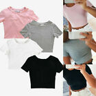 Women Casual Short Sleeve Blouse T-Shirt Bodycon Gym Yoga Sports Crop Tank Tops