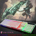 Computer Desktop Gaming Keyboard and Mouse Mechanical Feel Led Light Backlit USA