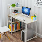 Home Office PC Laptop Table Corner Desk Table W/ 4 Tiers Book Shelves Bookcase