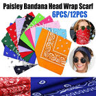 US! Large Paisley Bandanas Pack of 12 100% COTTON Mix Colors Non Fading 22'x22'