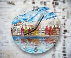 Many Townhouses Row Wall Clock Home Office Bedroom Living Room Kitchen Decor