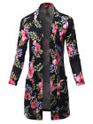 FashionOutfit Women's Casual Solid and Print Long Length Knit Cardigan