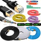 Cat7 Ethernet Cable 10Gbps RJ45  Network LAN Gold Plated Ultra-thin FLAT SSTP UK