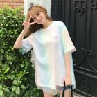 Women Mesh T-shirt Rainbow Color Gradient Top Tee Embroidered Harajuku Cute Pink
