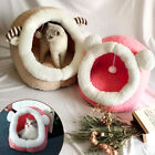 High Quality Jungle Cat Cave Beds with Dangling Toy Cat Large Kittens Igloo Bed