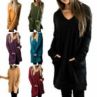 Women Long Sleeve Pocket Dress Ladies Casual Loose T-Shirt Plain Pullover Dress
