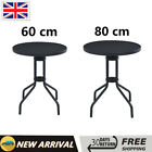 Garden Bistro Table Glass Bar Table Patio Dining Table Round Black 60 Cm/80 Cm