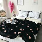 Home beding faux lamb thick winter warm snap sleeping cover floral printed sheet