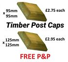 Premier Square Green Treated Wood Decking Fence Post Caps for 3