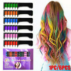 6pcs Non-toxic Hair Chalk Comb Temporary Hair DYE Color Soft Pastels Salon Tools
