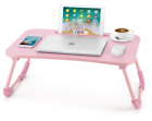 Lap Desk Bed Table Tray for Eating Writing Foldable Desk with iPad Slots