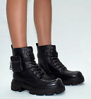 Womens Chunky Sole Pouch Ankle Boots Ladies Pocket Goth Punk Biker Shoes Size