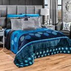 Blue Toned Sfera Flannel Sherpa Blanket in Thick Soft Wadding