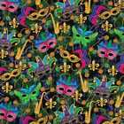 Mardi Gras New Orleans Carnival Masquerade Beads Feathers Cotton Fabric