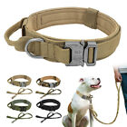 Heavy Duty Nylon Military Dog Collar and Leash Set with Metal Buckle 4 Colors