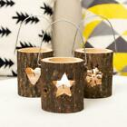 Wooden Pillar Candlestick Hollow Christmas Tree Snowflake Candle Holder Rustic
