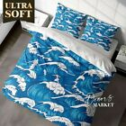 Spray White Beach Wave Blue Quilt Cover Set With 2X Matching Pillowcases