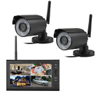 "7"" Wireless Monitor 2.4GHz 4CH CCTV DVR Kit WIFI Cameras Audio Security System"
